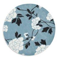 Safavieh Modern Art 7-Foot Round Rug in Blue/Cream
