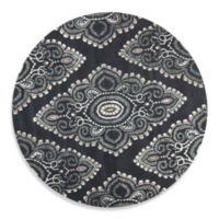 Safavieh Wyndham Amiya 7-Foot Round Hand-Tufted Wool Rug in Dark Grey/Ivory