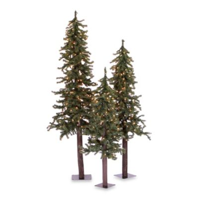 Superior Vickerman Natural Alpine Pre Lit Christmas Trees With Clear Lights (Set Of  3)