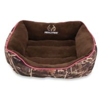 Realtree® Max4 Small Camo Box Pet Bed with Pink Border/Brown Interior