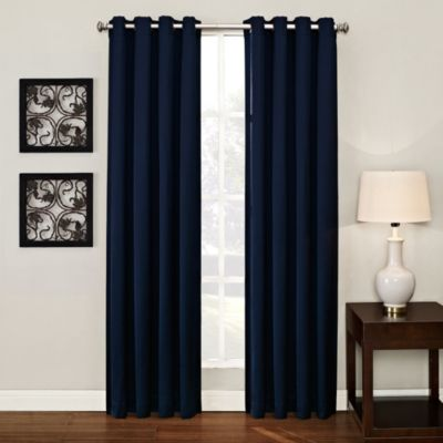 Ashton 95 Inch Grommet Window Curtain Panel In Navy