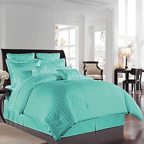 wamsutta 174 damask stripe comforter set in white bed bath buy wamsutta 174 500 damask king comforter set in aqua from 941
