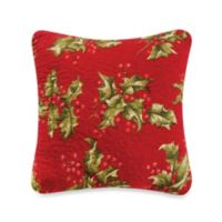 Mistletoe & Holly Square Throw Pillow