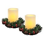 Holiday Wreath Set with LED Candles (Set of 2)