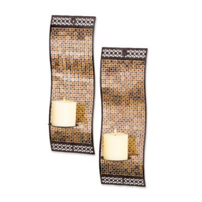 kingsway rich mixed metallic mosaic waved wall sconces set of 2