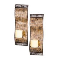 Kingsway Rich Mixed Metallic Mosaic Waved Wall Sconces (Set of 2)