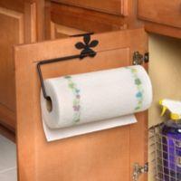 Spectrum™ Flower Over the Cabinet-Door Paper Towel Holder in Black