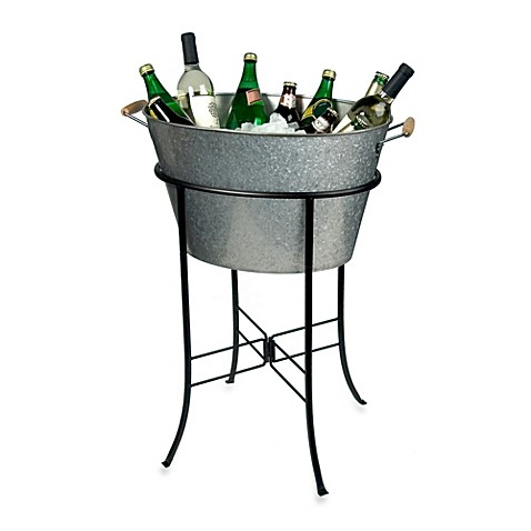 Artland 174 Oasis Galvanized Steel Oval Party Tub With Stand