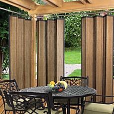 Easy Glide Indoor Outdoor Bamboo Ring Top Window Curtain Panel In Espresso