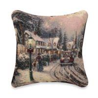 Thomas Kinkade Village Christmas Pillow