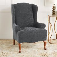 Sure Fit® Stretch Jacquard Damask Wing Chair Slipcover in Grey