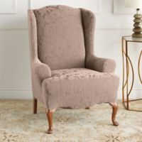 Sure Fit® Stretch Jacquard Damask Wing Chair Slipcover in Mushroom
