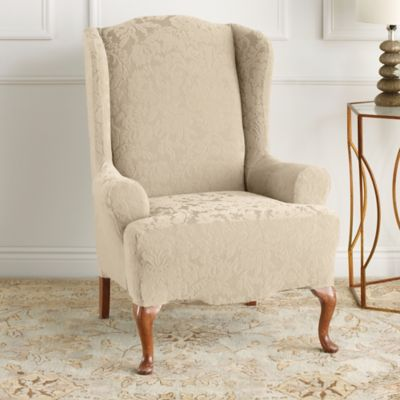Sure Fit® Stretch Jacquard Damask Wingback Chair Slipcover In Oyster