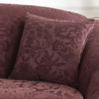 Sure Fit® Stretch Jacquard Damask 18-Inch Square Throw Pillow in Raisin