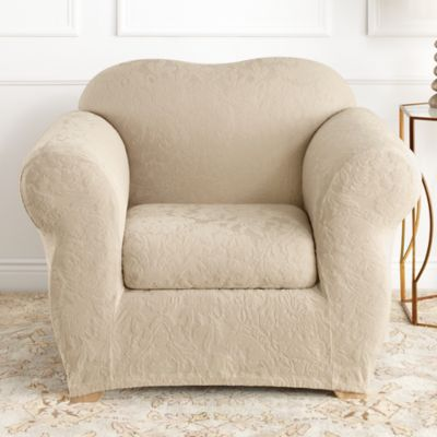 Beautiful Sure Fit® Stretch Jacquard Damask 2 Piece Chair Slipcover In Oyster