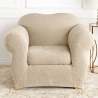 Sure Fit® Stretch Jacquard Damask 2-Piece Chair Slipcover in Oyster