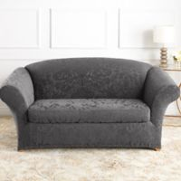 Sure Fit® Stretch Jacquard Damask 2-Piece Loveseat Slipcovers in Gray