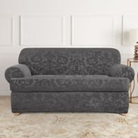 Sure Fit Stretch Jacquard T Cushion 2 Piece Loveseat Slipcover In Grey