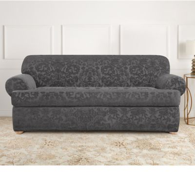 Sure Fit® Stretch Jacquard T Cushion 2 Piece Sofa Slipcover In Grey