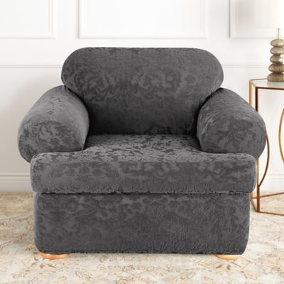Sure Fit® Stretch Jacquard Damask 2 Piece T Cushion Chair Slipcover