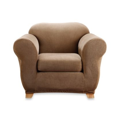 Sure Fit® Stretch Stripe 2 Piece Chair Slipcover In Brown