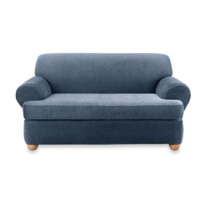 Sure Fit® Stretch Stripe 2 Piece T Cushion Loveseat Slipcover In Navy