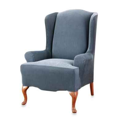Sure Fit® Stretch Stripe Wing Chair Slipcover