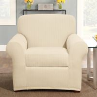Sure Fit® Stretch Pinstripe 2-Piece Chair Slipcover in Cream