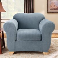 Sure Fit® Stretch Pinstripe 2-Piece Chair Slipcover in French Blue