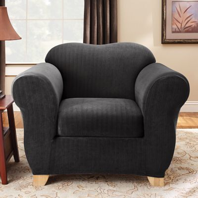 Sure Fit® Stretch Pinstripe 2 Piece Chair Slipcover In Black