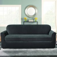Sure Fit® Stretch Pinstripe 2-Piece Sofa Slipcover in Black