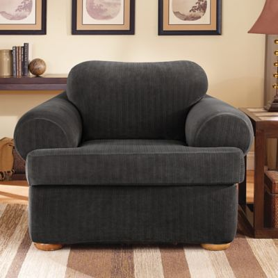 Beau Sure Fit® Stretch Pinstripe 2 Piece T Cushion Chair Slipcover In Black