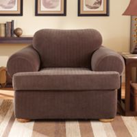Sure Fit Stretch Pinstripe 2 Piece T Cushion Chair Slipcover