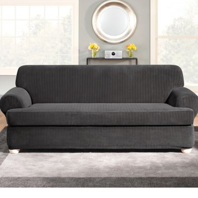 Sure Fit Stretch Pinstripe 2Piece TCushion Sofa Slipcover Bed