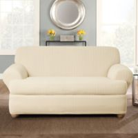 Sure Fit® Stretch Pinstripe 2-Piece T-Cushion Loveseat Slipcover in Cream