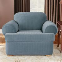 Sure Fit® Stretch Pinstripe 2-Piece T-Cushion Chair Slipcover in French Blue