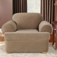 Sure Fit® Stretch Pinstripe 2-Piece T-Cushion Chair Slipcover in Taupe