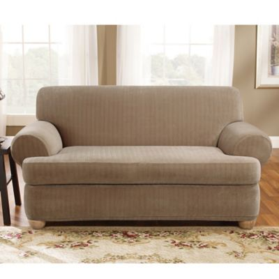 Sure Fit® Stretch Pinstripe 2 Piece T Cushion Loveseat Slipcover In Taupe