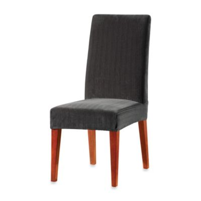 Sure FitR Stretch Pinstripe Short Dining Chair Slipcover In Black