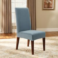 Sure Fit® Stretch Pinstripe Short Dining Chair Slipcover in French Blue