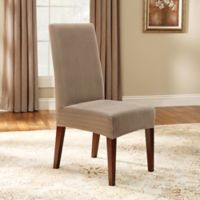 Sure Fit® Stretch Pinstripe Short Dining Chair Slipcover in Taupe