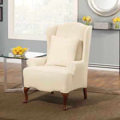 Sure Fit® Stretch Pinstripe Wing Chair Slipcover In Cream