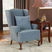 Sure Fit® Stretch Pinstripe Wing Chair Slipcover in French Blue
