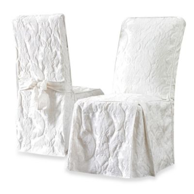 Sure Fit® Matelasse Damask Long Dining Chair Cover In White