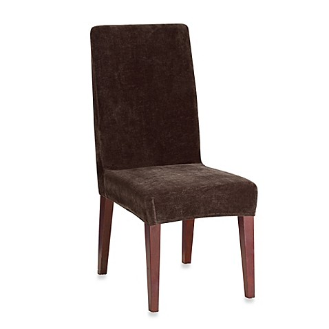 Buy sure fit stretch plush short dining room chair cover in chocolate from bed bath beyond - Plush dining room chairs ...