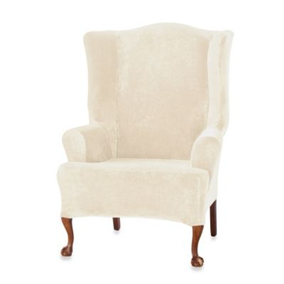 Nice Sure Fit® Stretch Plush Wing Chair Slipcover In Cream