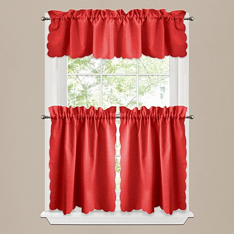 Victoria window curtain tier pairs and valances in red - Jcpenney bathroom window curtains ...