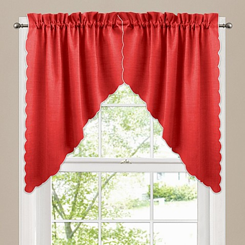 Victoria Window Curtain Swag Valance Pair In Red Bed