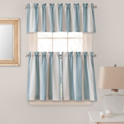 Superbe Lauren Stripe 24 Inch Window Curtain Tier Pair In Blue