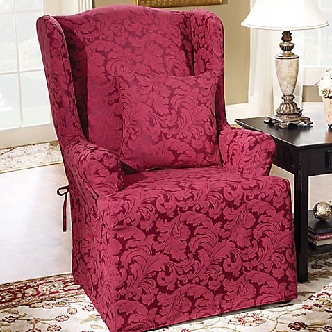 Sure Fit 174 Scroll Wingback Chair Slipcover Bed Bath Amp Beyond
